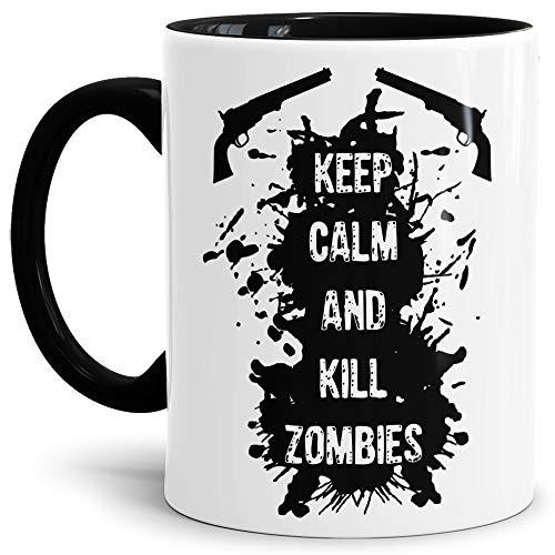 Tasse mit Spruch Keep Calm and Kill Zombies - Halloween/Untoter/Beißer/Rot/Innen & Henkel Schwarz