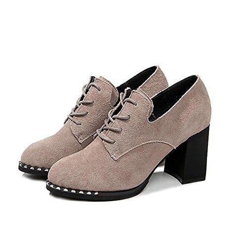 HAIZHEN Damen Mädchen Booties Damenschuhe Herbst Winter Comfort Heels Chunky Heel Runde Zehe für Casual Office Karriere Für 18-40 Jahre alt ( Farbe : 1002 , größe : EU36/UK3.5/CN35 ) (Comfort-clogs Nubuk)