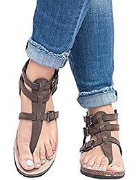... ❤ Amlaiworld Sandalias de Mujer Talla Grande Sandalias Romanas Zapatillas de Hebilla Señoras Sandalias Planos…