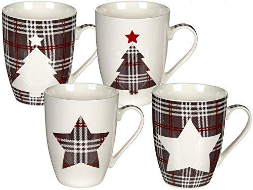 Bada Bing 4er Set Tassen Kariert Muster Stern Tannenbaum Kaffeebecher Kaffeetasse 946209