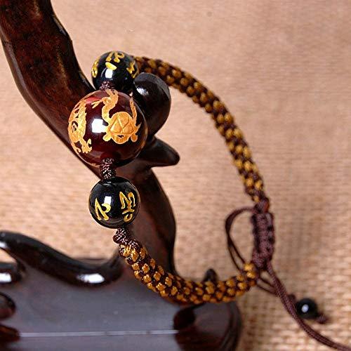 ESCYQ Männer Armbänder Armband Bettelarmband,Red Tiger Eye Armband Mais Knoten Männer Hand Seil Hand-Woven Männer Perlen Schmuck -