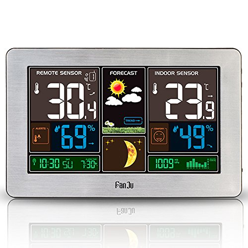 FanJu FJ3378S Funkwetterstation Color mit USB-Ladegeräte/Außensensor Funk/Uhr/Innen-/Außentemperatur und Luftfeuchtigkeit/Mondphase/Uhren mit Thermometer