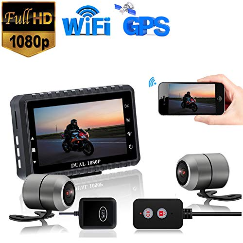 WiFi Motorcycle Dash Cam, Full HD 1080P 140 ° Dual Lens 3.0'LCD con Visione Notturna/GPS/WDR/Loop Video/G Sensor, EIS Anti-Shake