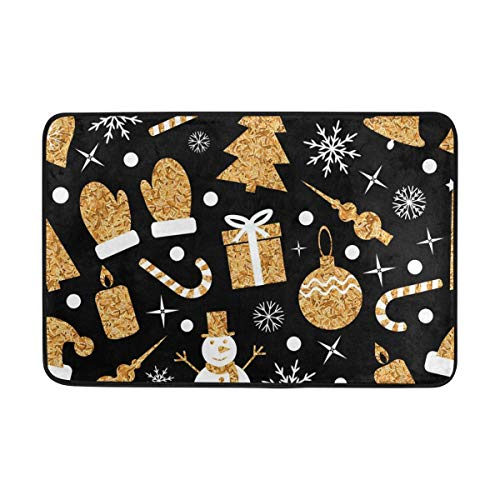 jinhua19 Carpet Golden Christmas Tree Bell Snowman Rug Pad 100% Light Weight Polyester Fabric for LivingBedroom Bathroom 23.6