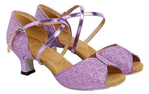 Honeystore Damen's Glitter Peep Toe Hochzeit Tanzschuhe Violett