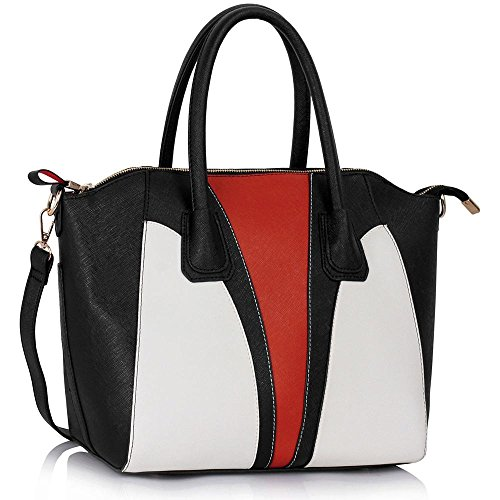 - 51xpNcNyWSL - Womens Designer Handbags Ladies Faux Leather Celebrity Style Tote Shoulder Bags (A – Black)