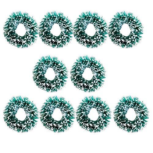 Phononey 10X Dekoration Mini Weihnacht Kranz Mikrolandschaft Simulation Retro Puppenhaus Ornament Fairy Garden Kunstharz Geschenk kreatives für Gartendeko Werkzeug 2-2.8cm Grün