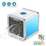 Mini Air Refroidisseur,Climatiseur mobile portable 3 en 1,Refroidisseur,Purificateur,Humidificateur, 3 vitesses de vent, avec 7 Couleurs Veilleuse/Accueil / bureau/extérieur