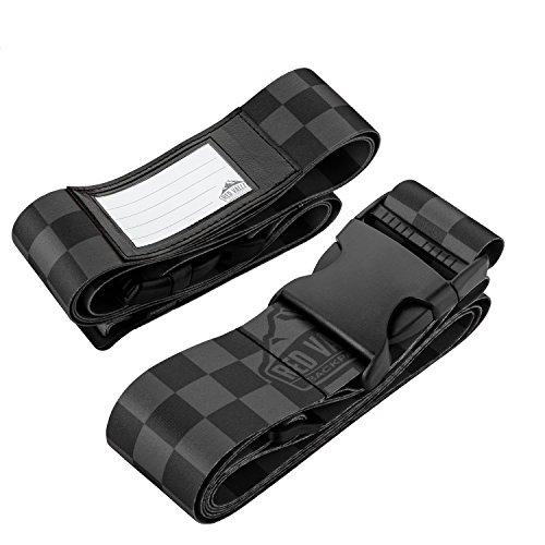 2er-Pack Premium Koffergurt 5x200cm mit Schnalle und Namensschild - hochwertige Lange Koffergurte (2X Schwarz) (Hats Farbige Top)