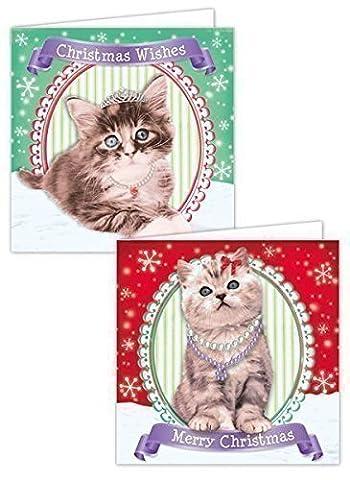 20 x Weihnachten Weihnachten Karten süß Katze Kätzchen DESIGNS TIERE Schule Kinder (Katze Weihnachtskarten)