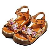 98901ebeb18f60 Socofy Sandali da Donna da Estate Donne Elegante Scarpe Caviglia Sandali  con Zeppa Vintage Fiore Colorato