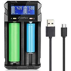 Zanflare C2 Chargeur de Piles Rapide et Compact, Chargeur d'Accus Intelligent, Ecran LCD pour Piles Rechargeables A, AA, AAA, Accus 18650, 26650 26500, 22650, 18490, 17670, 17500, 17355, Ect