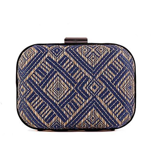 Blau Stroh Handtaschen (Weiblich Damen Clutch Weaving Handtasche Handwerk Stroh Abend Party Tasche Geldbörse Mini Small Cute Griff Tasche (Farbe : Blau))