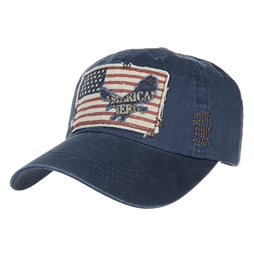 WITHMOONS Cappellini da baseball Cappello Baseball Cap Vintage American Flag Patch Distressed CR1055 (Blue)