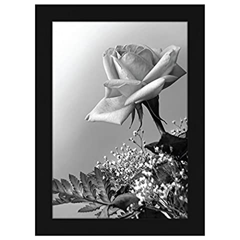 A4 (21x29.7 cm) Black Wood Picture Frame with Glass Front; Made to Display Pictures 21x29.7 cm; Hanging Hardware Included