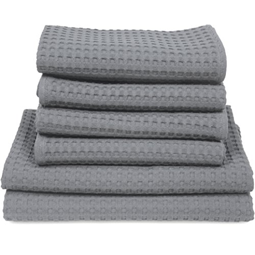 6 teil. Set 4x Handtuch 2x Badetuch / Duschtuch Waffelpiqué Baumwolle grau (Kiesel Tuch)