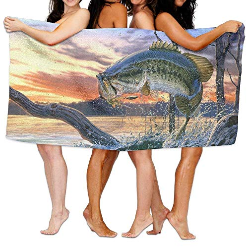 fregrthtg Bath Towel Microfiber BAGT, Microfiber Travel Sport Beach Bath Towels Bass Fish with Hook Out of Ocean at