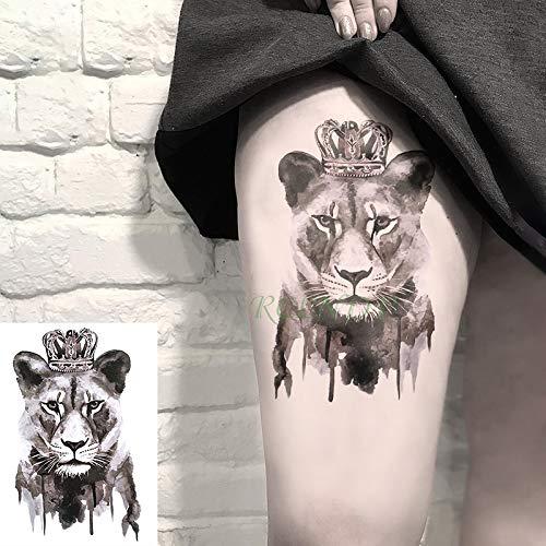 te tatoo Tattoo Aufkleber Lion Queen Crown Tier Tatto Flash Tatoo tattoos Hand Bein Arm für Kinder Männer Frauen ()