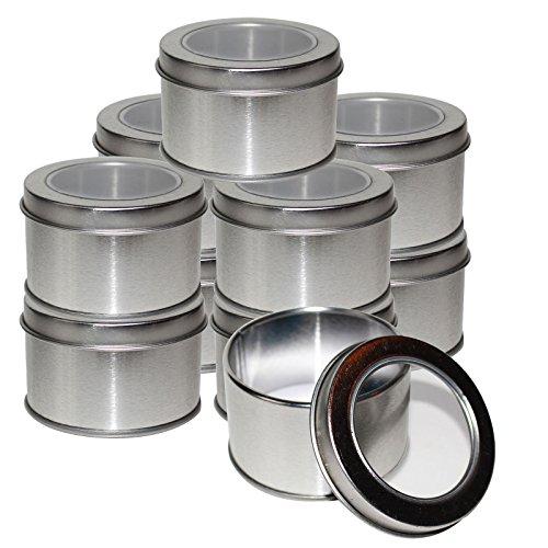 e Metall Behälter Blechdosen mit Deckel von Kurtzy - Leere Dosen mit Transparentem Sichtfenster für Reisen, Gewürze, Lippenbalsam, Tabak und Mehr - Metalldosen in Taschengröße ()