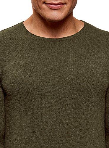 oodji Ultra Herren Pullover Basic mit Rundhalsausschnitt Grün (6600M)