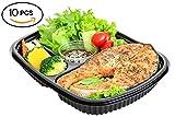 3 Fach Meal Prep Behälter, 100% Auslaufsicher Bento Box / Lunch Boxen, Lagerbehälter für Lebensmittel. Stapelbar, Wiederverwendbar und BPA-frei Aufbewahrungsbox. Mikrowellenfest, Gefrierschrank geeignet, Portions-Trennwände - (10 Stück) (10 Stück)