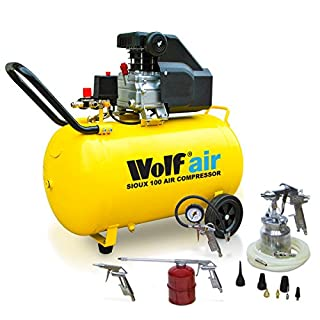 Wolf Portable 100 Litre Air Compressor 8BAR 2.5HP 116psi 9.6CFM Includes 13pc Air Tool Kit - 2 Years Warranty