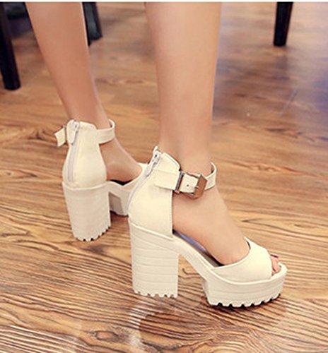 Aisun Femme Elégant Chunky Plateforme Sandales Avec Boucle Beige