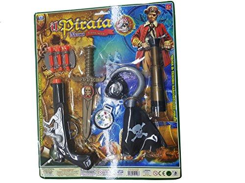 takestop® Set Pirata CORSARO Nero UNCINO Bussola Pistola Freccette Coltello CANNOCCHIALE Gioco per Bambini dai 3 Anni Giocattolo