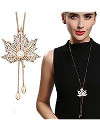 Hosaire Moda mujer Hoja de arce de la borla del diamante largo cadena encantos suéter collar accesorios de la joyería(oro)