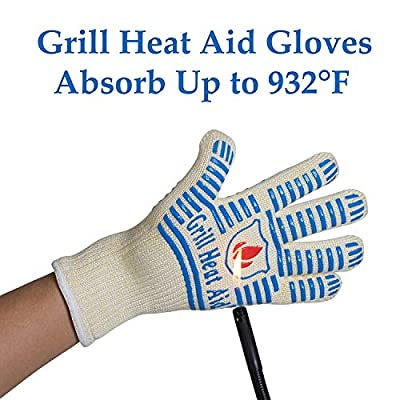 #1 Grill Gloves Withstand Heat up to 662°F - Premium Barbecue & Oven Heat Resistant Gloves - Set of 2 Kitchen Gloves Insulated By Aramid with 100% Cotton Lining Provides Super Comfort for BBQ - Five Fingers Heatproof Oven Gloves Set - Use As Oven Mitt, P