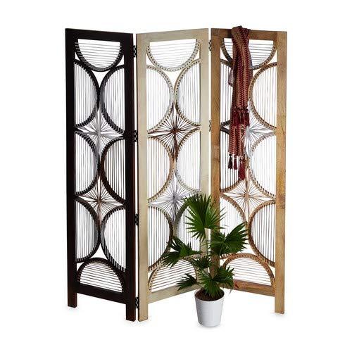 Native Home Paravent Holz, 3-teilig, faltbar, freistehend, Mangoholz, Innenbereich, Raumteiler, HxB: 180 x 150 cm, braun, Standard