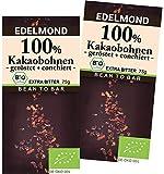 Edelmond 100% geröstete Edel Kakaobohnen. Kein Zusatz von Kakaomasse. Extrem Bitter, da handwerklich gemahlene Kakaobohne. (2 Tafeln)