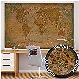GREAT ART XXL Poster - Historische Weltkarte - Wandbild Dekoration Globus Antik Vintage World Map Used Atlas Landkarte Old School Wandposter Fotoposter Wanddeko Bild(140 x 100 cm)