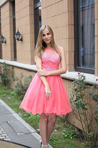 Sarahbridal Damen Kurz Abschlusskleider Tüll durchsichtig Rückenfrei mit Glanz Stein Ausschnitt Ballkleid Abendkleider SAJ032 Rosa