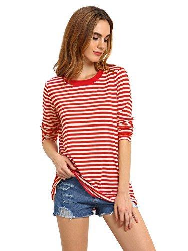 ROMWE Damen Ringel Langarmshirt Baumwoll Streifen Gestreift Hundhals Shirt Top Rot XL