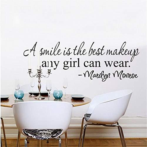 GJQFJBS A Smile Is The Best Makeup Inspirational Quote Adesivi murali Ragazza Decorazioni per la casa Decalcomania da vinile Camera Murale Arte grigia 20x63cm