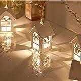 Lichterkette Außen, HUIHUI 10 LEDs Haus Lichterkette batteriebetrieben für Party, Garten, Weihnachten, Halloween, Hochzeit, Indoor & Outdoor Decor (Weiß 1,One size)
