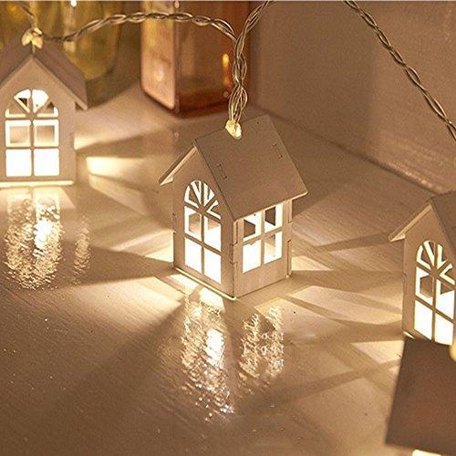 Lichterkette Außen, HUIHUI 10 LEDs Haus Lichterkette batteriebetrieben für Party, Garten, Weihnachten, Halloween, Hochzeit, Indoor & Outdoor Decor (Weiß 1, One Size) -