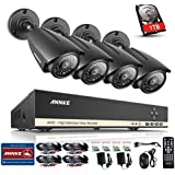 Annke 8CH ProHD 1080N 960*1080 CCTV DVR+ 4x1.30 Megapixels Weatherproof Bullet Camera+1TB HDD Security Camera System, 1080P NVR Hybrid Recorder, Smart Recording, Easy DIY QR Code Scan Remote Access