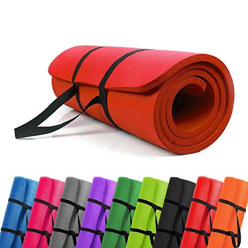 PROMIC Trainingsmatte, Yogamatte, 183 cm x 61 cm x 1,5 cm Pilates Matte, für Yoga, Pilates und andere Trainings zu Hause und Studio, rutschfeste Gymnastikmatte mit Tragegürtel, Rot