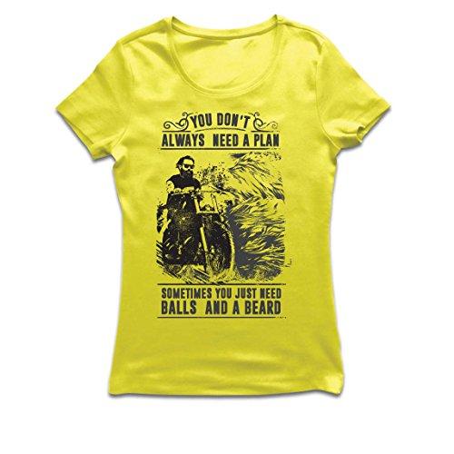 Frauen T-Shirt Sie brauchen Nicht Immer einen Plan - Motorrad, Liebe zu reiten, großes Geschenk für Biker (Medium Gelb Mehrfarben)