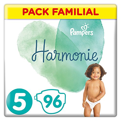 Pampers - Harmonie - Couches Taille 5 (11-16 kg) Hypoallergénique - Pack Familial(96 couches)