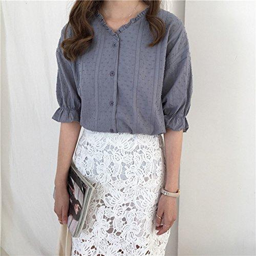 Xmy Sommer v-Ausschnitt Kurzarm Shirt Blütenblätter der reinen Farbe Zeile für Qualität und vielseitige Video dünne Kleidung sind Code und 灰 -