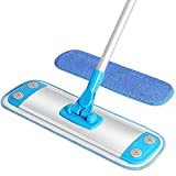 MR. SIGA Aluminum Microfiber Floor Mop - 40cm, Size 40 x 12cm, Aluminum mop frame with Aluminum telescopic pole (Included 2 Microfiber Refills)