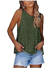 VJGOAL Mujer Camiseta sin Mangas con Cuello en O Camisetas de Tirantes Estampado de Leopardo Moda Casual de Verano Tank Top Blusas sin Mangas Sueltas