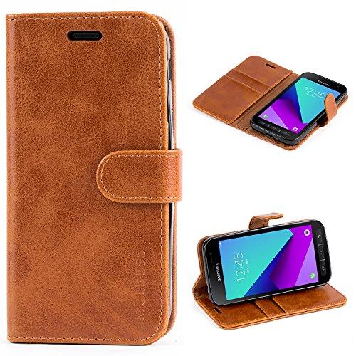 Mulbess Ledertasche im Ständer Book Case / Kartenfach für Samsung Galaxy XCover 4 Tasche Hülle Leder Etui,Braun