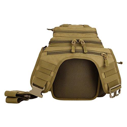 MagiDeal Molle Umhängetasche Outdoor Taktische Schultertasche mit verstellbarem Schultergurt, Camping Wandern Trekking - Outdoor Shoulder Pack Braun