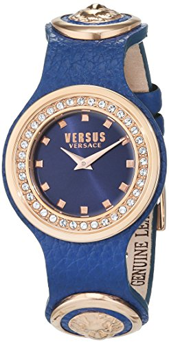Versus by Versace Women's 'CARNABY STREET CRYSTAL' Quartz Stainless Steel and Leather Casual Watch, Color Blue (Model: SCG190016)