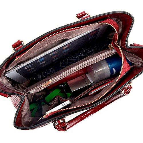 WU Zhi Damen PU Messenger Schulter Handtasche Red