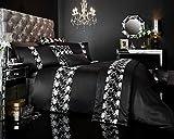 Designer Bestickte Luxus Flavia/Bettbezug Bettwäsche Set mit Kissen, Polycotton, schwarz, King Size